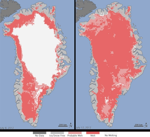 Greenland ice surface melting record 2012