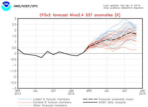Strong El Niño 2014, NCEP forecast