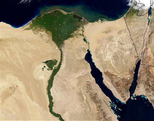 The Eqyptian Nile Delta from space. Threatened by sea level rise and desertification
