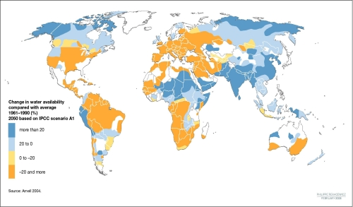 global water stress changes due to climate change