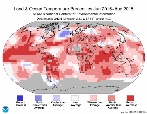 Globally the summer of 2015 -June, July, August- was the hottest summer ever recorded