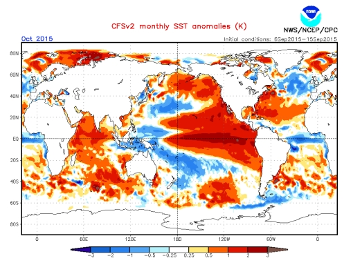 North Atlantic SST anomaly chart shows weak Gulf Stream October 2015