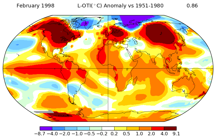 During the El Niño February of 1998 the high Arctic was actually cooler than average