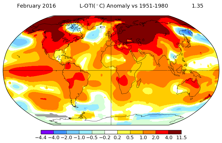 Take a look at this: in February 2016 the Arctic was 11.5 degrees Warmer