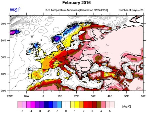 Record heat over Russia and eastern Europe in February 2016