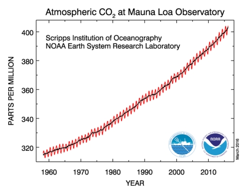 Graph CO2 concentration record of 2015/2016