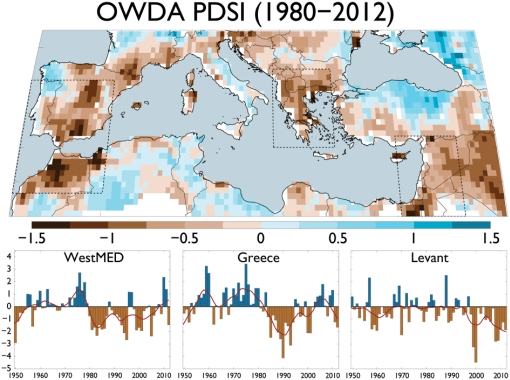Mediterranean droughts, recent dry climate regions