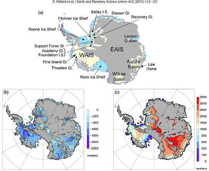 David Pollard, Robert DeConto - ice shelves, basins, glaciers, ice sheet weak points Antarctica