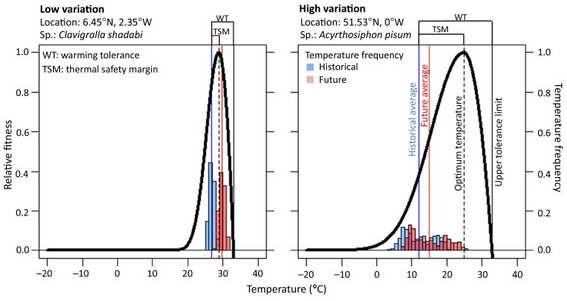 Thermal tolerance of species to climate change