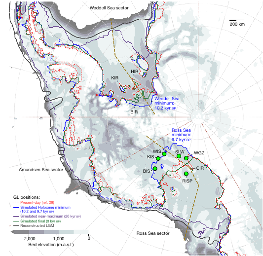 Grounding lines under West Antarctic Ice Sheet