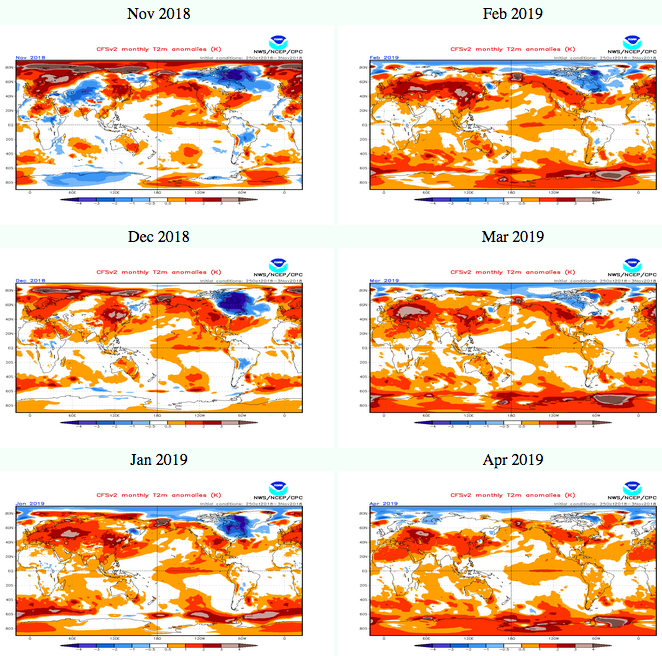 Winter 2018-2019 forecast by NOAA NCEP does not show cold anomaly for Europe
