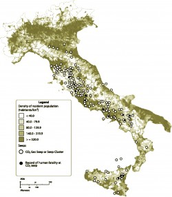 Italian natural CO2 seep locations