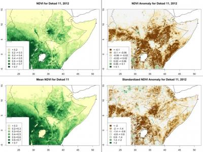 Map of African vegetation index