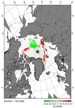 Arctic sea ice melting record 2011