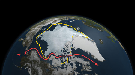 NASA image of Arctic sea ice September 2011