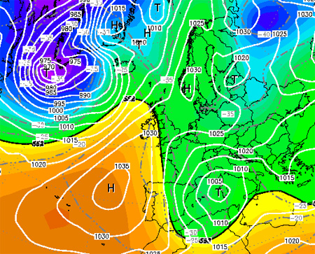 Forecast Azores high Scandinavia high NOAA