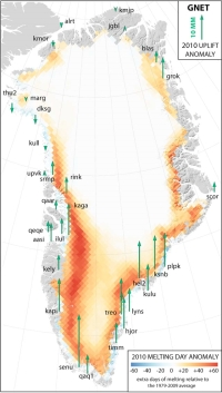 Greenland melting record 2010 uplift