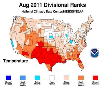 US hottest summer record 2011